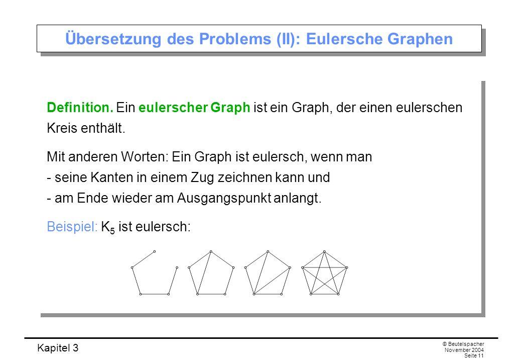 Kapitel 3 © Beutelspacher November 2004 Seite 11 Übersetzung des Problems (II): Eulersche Graphen Definition. Ein eulerscher Graph ist ein Graph, der