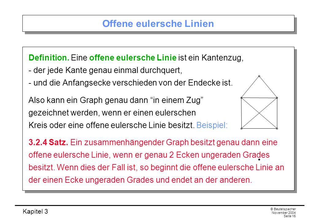 Kapitel 3 © Beutelspacher November 2004 Seite 15 Offene eulersche Linien Definition. Eine offene eulersche Linie ist ein Kantenzug, - der jede Kante g