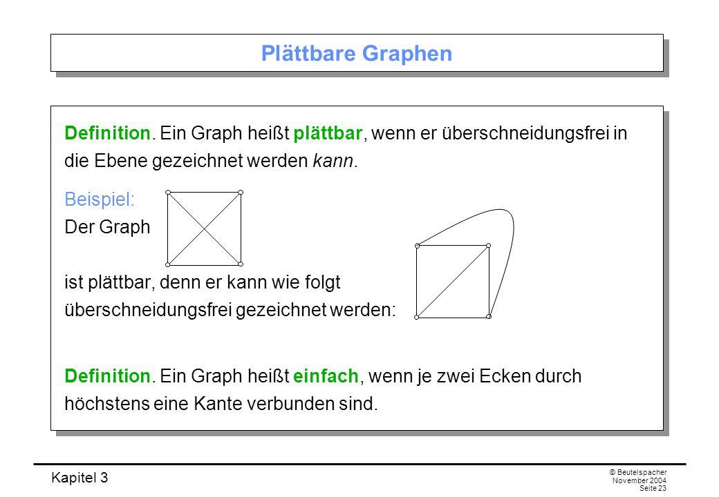 Kapitel 3 © Beutelspacher November 2004 Seite 23 Plättbare Graphen Definition. Ein Graph heißt plättbar, wenn er überschneidungsfrei in die Ebene geze