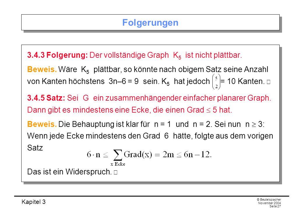 Kapitel 3 © Beutelspacher November 2004 Seite 27 Folgerungen 3.4.3 Folgerung: Der vollständige Graph K 5 ist nicht plättbar. Beweis. Wäre K 5 plättbar