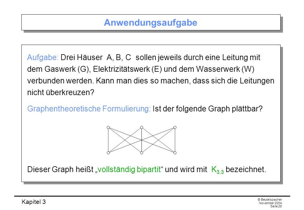 Kapitel 3 © Beutelspacher November 2004 Seite 28 Anwendungsaufgabe Aufgabe: Drei Häuser A, B, C sollen jeweils durch eine Leitung mit dem Gaswerk (G),