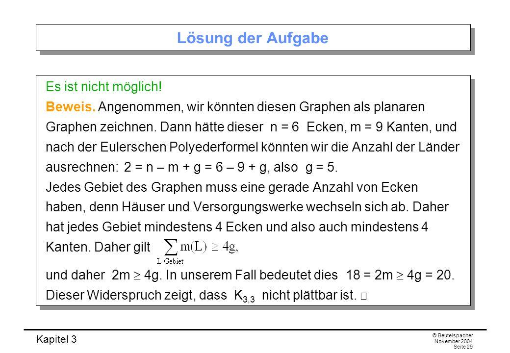 Kapitel 3 © Beutelspacher November 2004 Seite 29 Lösung der Aufgabe Es ist nicht möglich! Beweis. Angenommen, wir könnten diesen Graphen als planaren