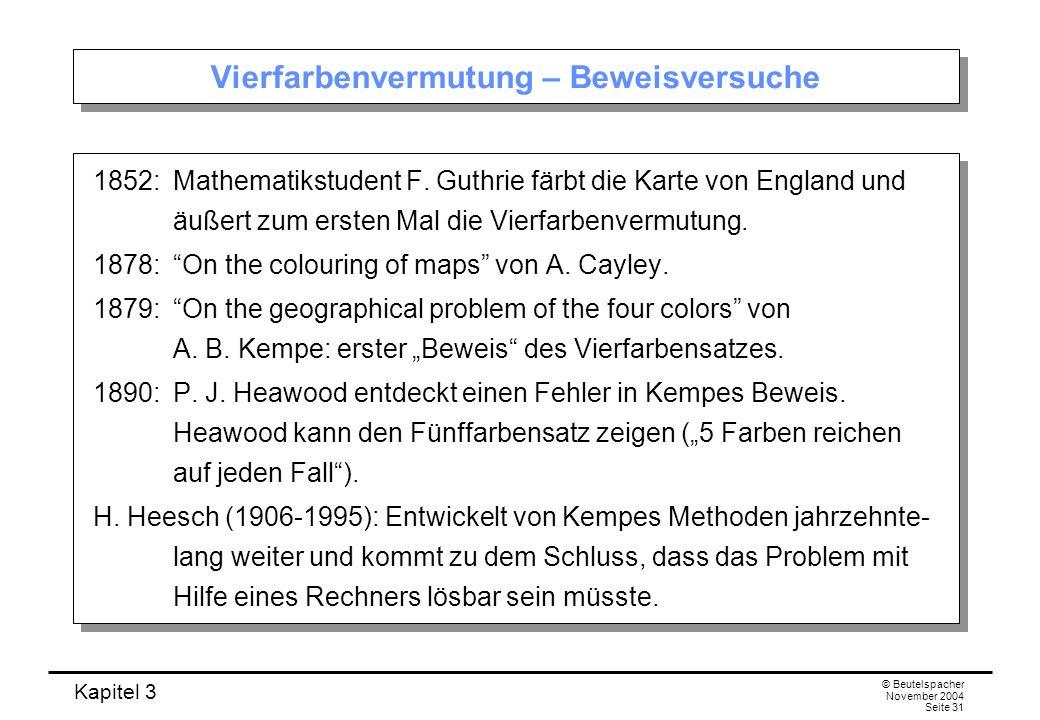 Kapitel 3 © Beutelspacher November 2004 Seite 31 Vierfarbenvermutung – Beweisversuche 1852: Mathematikstudent F. Guthrie färbt die Karte von England u