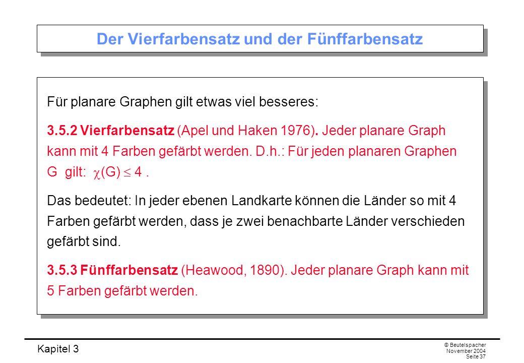 Kapitel 3 © Beutelspacher November 2004 Seite 37 Der Vierfarbensatz und der Fünffarbensatz Für planare Graphen gilt etwas viel besseres: 3.5.2 Vierfar