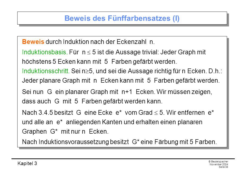 Kapitel 3 © Beutelspacher November 2004 Seite 38 Beweis des Fünffarbensatzes (I) Beweis durch Induktion nach der Eckenzahl n. Induktionsbasis. Für n 5