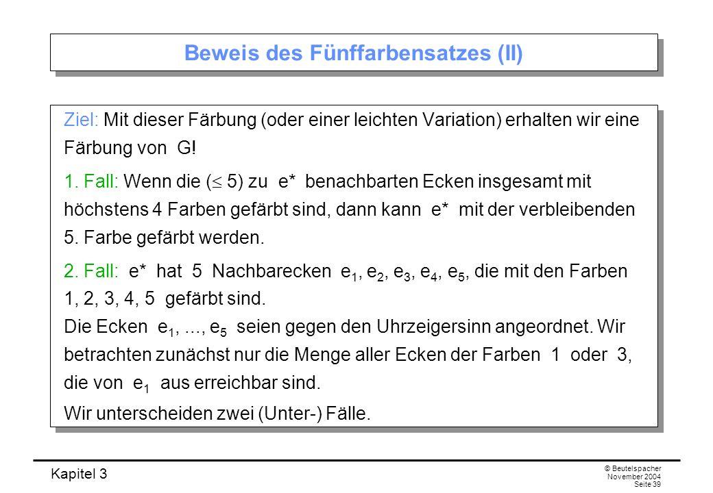 Kapitel 3 © Beutelspacher November 2004 Seite 39 Beweis des Fünffarbensatzes (II) Ziel: Mit dieser Färbung (oder einer leichten Variation) erhalten wi
