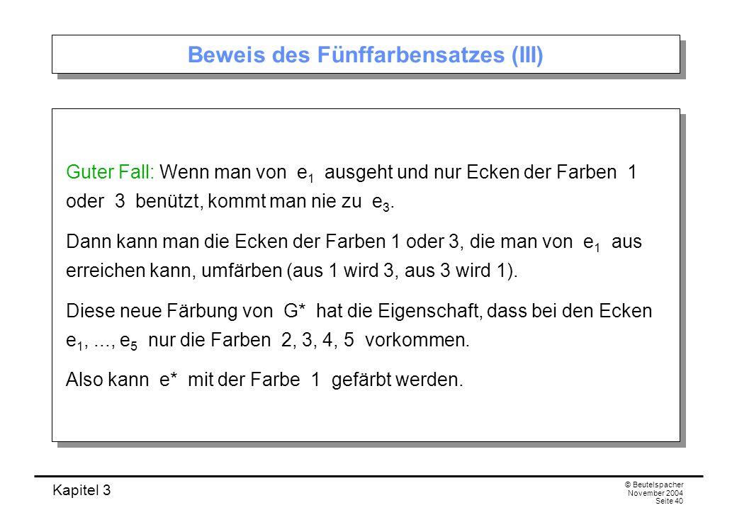 Kapitel 3 © Beutelspacher November 2004 Seite 40 Beweis des Fünffarbensatzes (III) Guter Fall: Wenn man von e 1 ausgeht und nur Ecken der Farben 1 ode