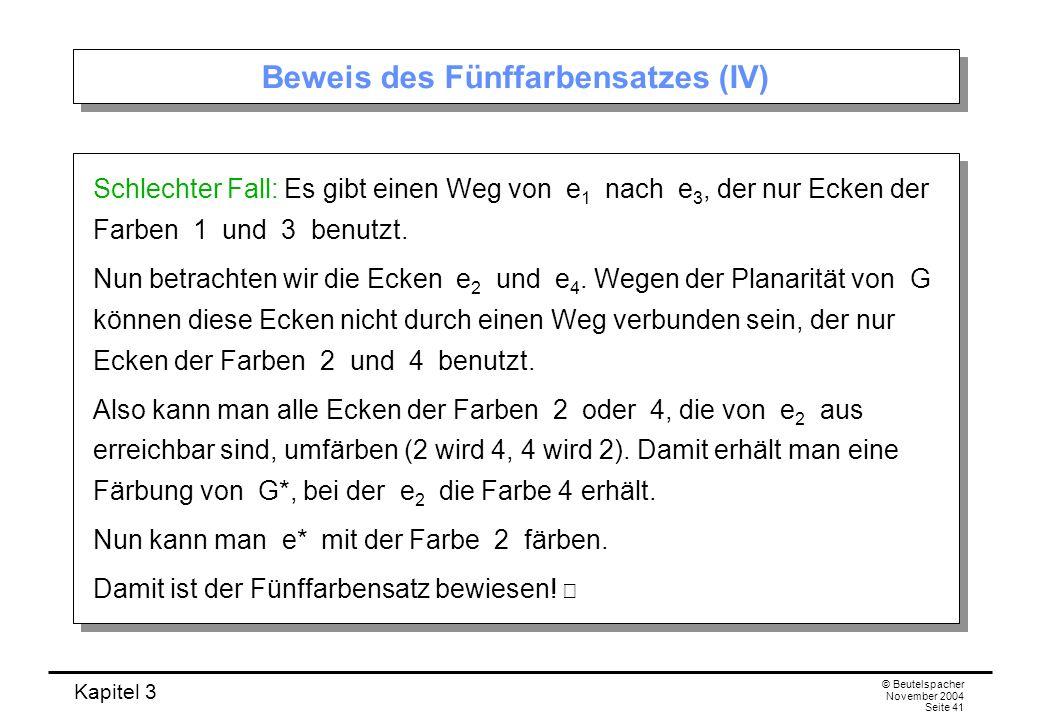 Kapitel 3 © Beutelspacher November 2004 Seite 41 Beweis des Fünffarbensatzes (IV) Schlechter Fall: Es gibt einen Weg von e 1 nach e 3, der nur Ecken d