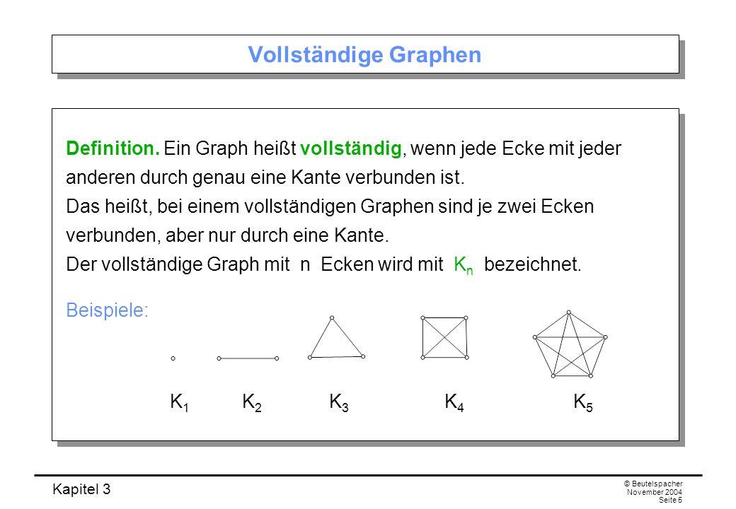 Kapitel 3 © Beutelspacher November 2004 Seite 5 Vollständige Graphen Definition. Ein Graph heißt vollständig, wenn jede Ecke mit jeder anderen durch g