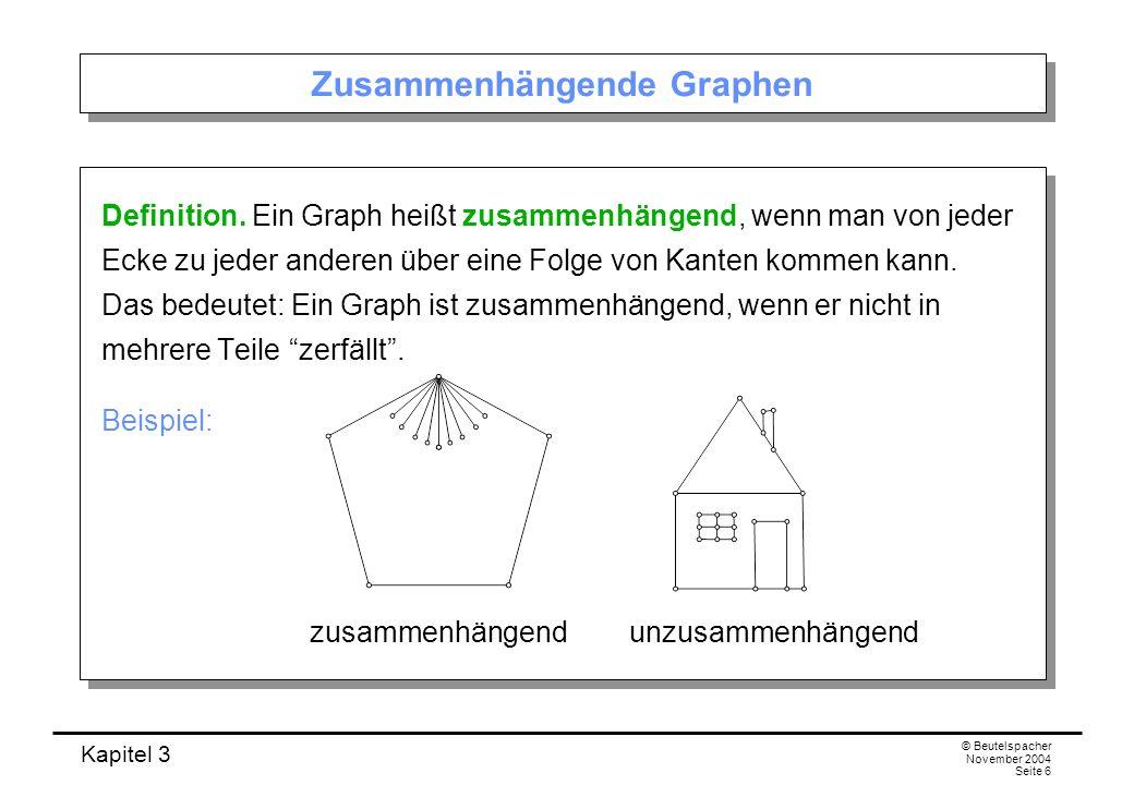 Kapitel 3 © Beutelspacher November 2004 Seite 6 Zusammenhängende Graphen Definition. Ein Graph heißt zusammenhängend, wenn man von jeder Ecke zu jeder