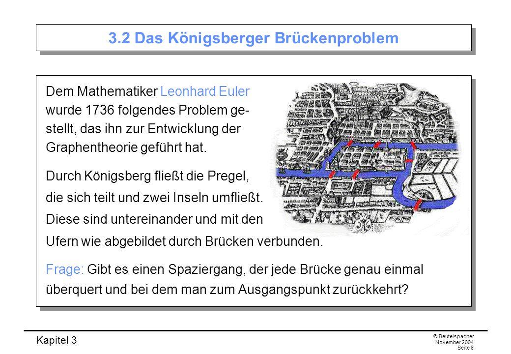 Kapitel 3 © Beutelspacher November 2004 Seite 9 Übersetzung der Karte in einen Graphen Jedem Landteil wird eine Ecke zugeordnet: Jede Brücke wird mit einer Kante identifiziert: Aus der Landkarte erhält man so den folgenden Graphen: Jedem Landteil wird eine Ecke zugeordnet: Jede Brücke wird mit einer Kante identifiziert: Aus der Landkarte erhält man so den folgenden Graphen: