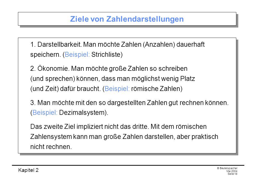Kapitel 2 © Beutelspacher Mai 2004 Seite 18 Ziele von Zahlendarstellungen 1. Darstellbarkeit. Man möchte Zahlen (Anzahlen) dauerhaft speichern. (Beisp