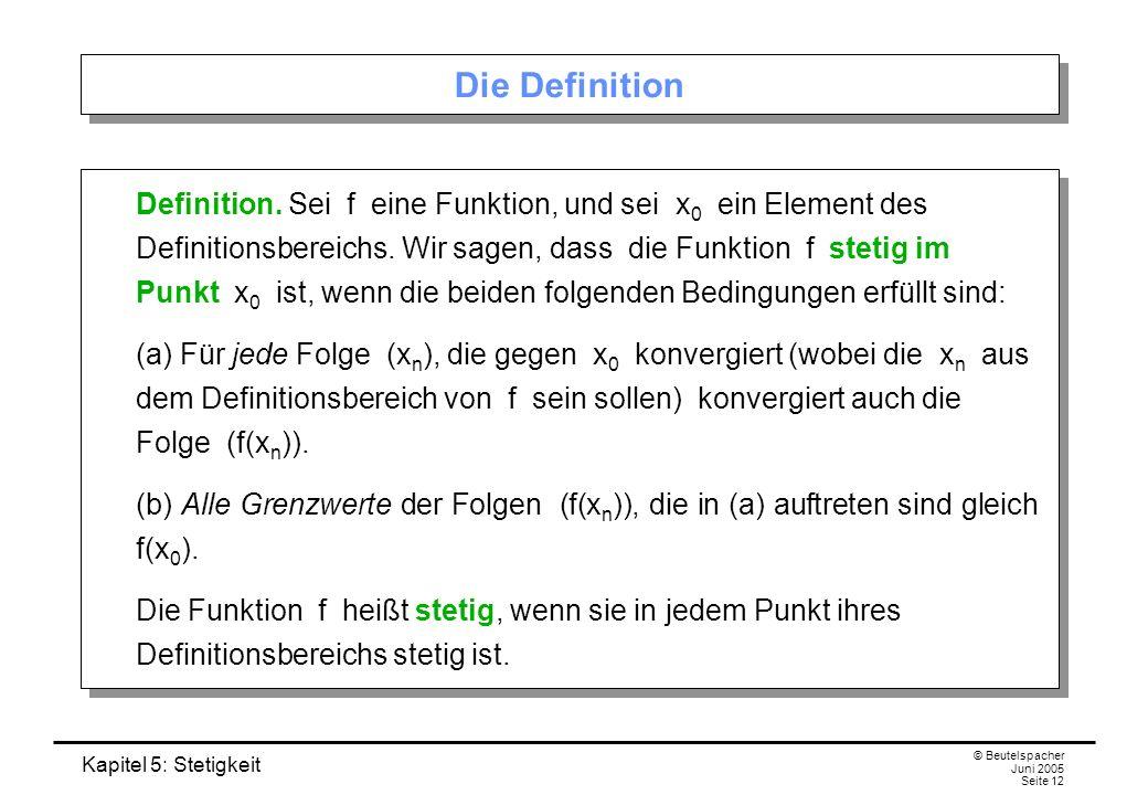 Kapitel 5: Stetigkeit © Beutelspacher Juni 2005 Seite 12 Die Definition Definition. Sei f eine Funktion, und sei x 0 ein Element des Definitionsbereic