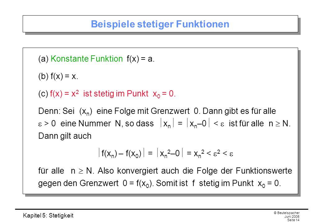 Kapitel 5: Stetigkeit © Beutelspacher Juni 2005 Seite 14 Beispiele stetiger Funktionen (a) Konstante Funktion f(x) = a. (b) f(x) = x. (c) f(x) = x 2 i