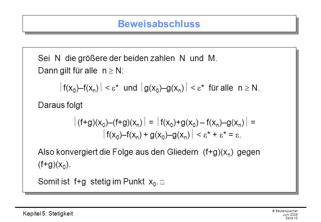 Kapitel 5: Stetigkeit © Beutelspacher Juni 2005 Seite 18 Beweisabschluss Sei N die größere der beiden zahlen N und M. Dann gilt für alle n N: f(x 0 )–