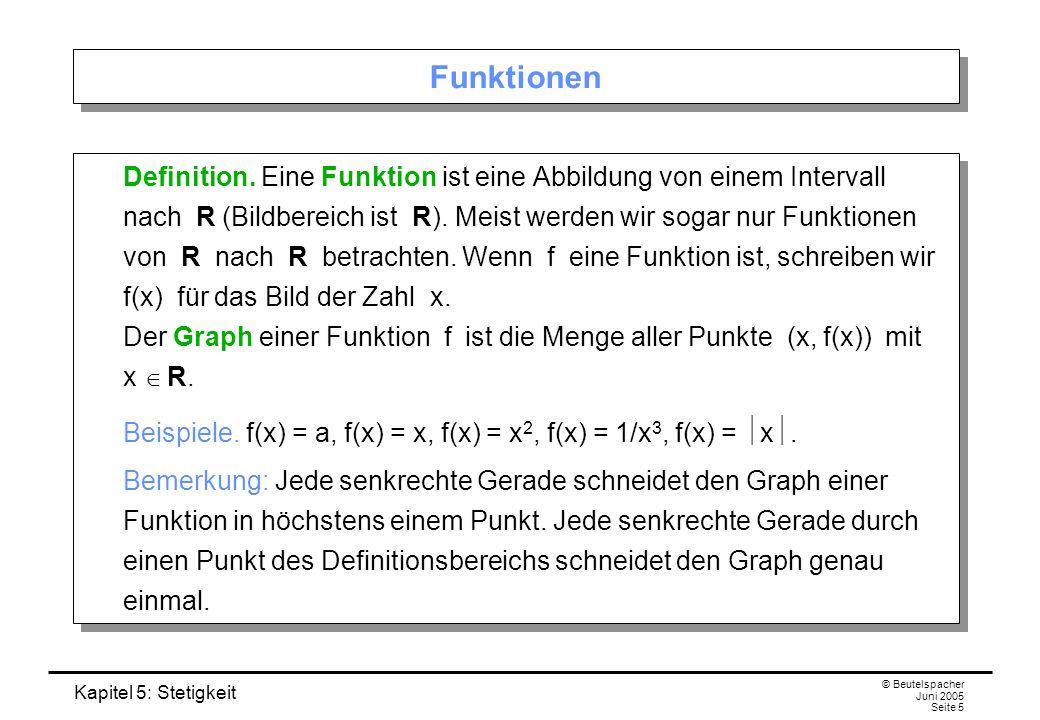 Kapitel 5: Stetigkeit © Beutelspacher Juni 2005 Seite 5 Funktionen Definition. Eine Funktion ist eine Abbildung von einem Intervall nach R (Bildbereic