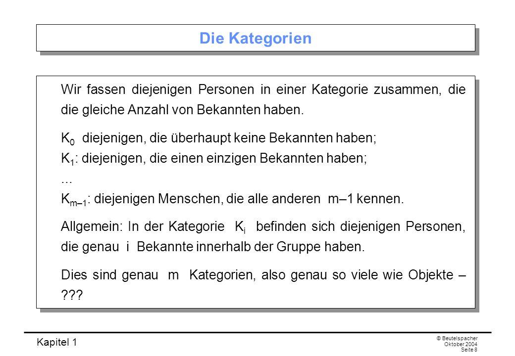 Kapitel 1 © Beutelspacher Oktober 2004 Seite 9 Der Trick Trick: Von den Kategorien K 0 und K m–1 tritt höchstens eine auf.