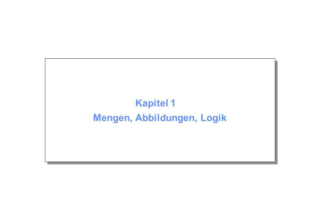 Kapitel 1 © Beutelspacher November 2003 Seite 12 Vereinigungsmenge Die Vereinigung zweier Mengen M 1 und M 2 ist so definiert: M 1 M 2 = {m m M 1 oder m M 2 }.