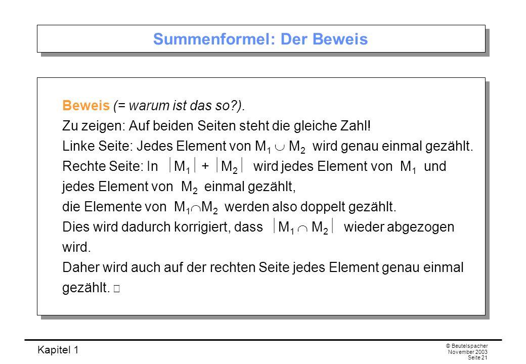 Kapitel 1 © Beutelspacher November 2003 Seite 21 Summenformel: Der Beweis Beweis (= warum ist das so?). Zu zeigen: Auf beiden Seiten steht die gleiche
