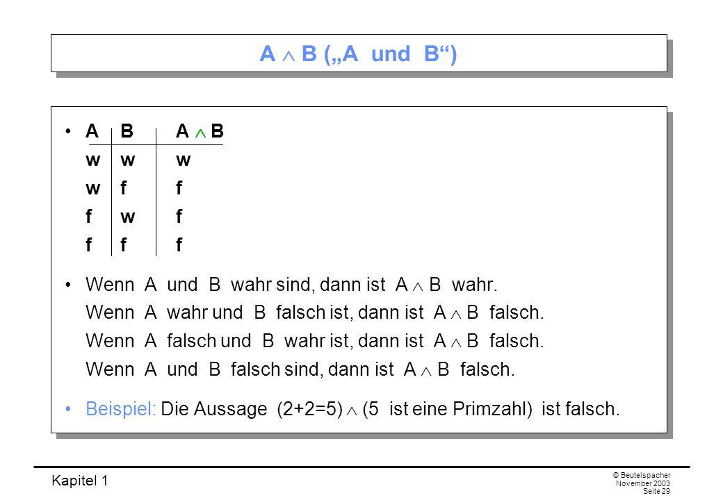 Kapitel 1 © Beutelspacher November 2003 Seite 29 A B (A und B) AB A B www wff fwf fff Wenn A und B wahr sind, dann ist A B wahr. Wenn A wahr und B fal