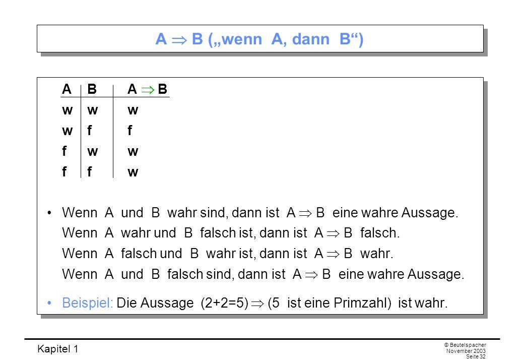 Kapitel 1 © Beutelspacher November 2003 Seite 32 A B (wenn A, dann B) AB A B www wff fww ffw Wenn A und B wahr sind, dann ist A B eine wahre Aussage.