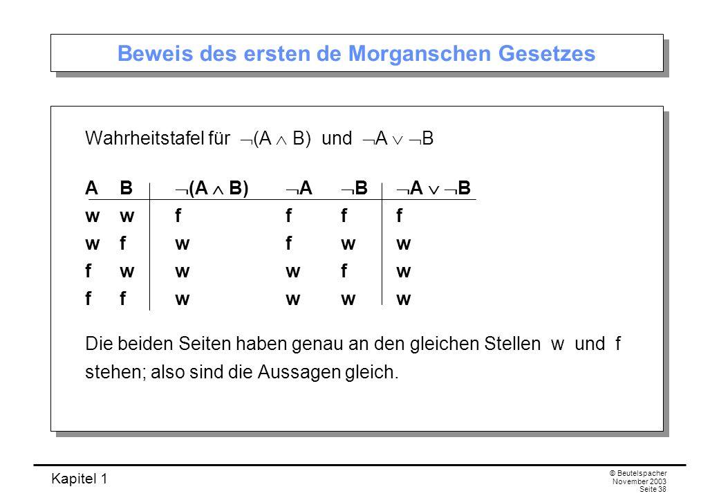 Kapitel 1 © Beutelspacher November 2003 Seite 38 Beweis des ersten de Morganschen Gesetzes Wahrheitstafel für (A B) und A B AB (A B) A B A B wwffff wf