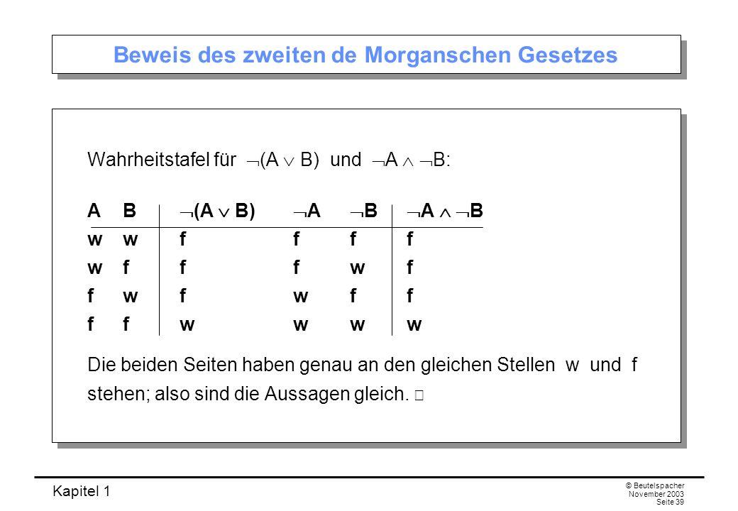 Kapitel 1 © Beutelspacher November 2003 Seite 39 Beweis des zweiten de Morganschen Gesetzes Wahrheitstafel für (A B) und A B: AB (A B) A B A B wwffff