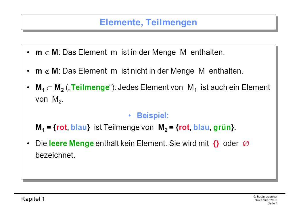 Kapitel 1 © Beutelspacher November 2003 Seite 7 Elemente, Teilmengen m M: Das Element m ist in der Menge M enthalten. m M: Das Element m ist nicht in