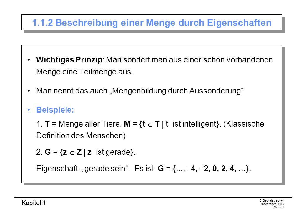 Kapitel 1 © Beutelspacher November 2003 Seite 39 Beweis des zweiten de Morganschen Gesetzes Wahrheitstafel für (A B) und A B: AB (A B) A B A B wwffff wfffwf fwfwff ffwwww Die beiden Seiten haben genau an den gleichen Stellen w und f stehen; also sind die Aussagen gleich.