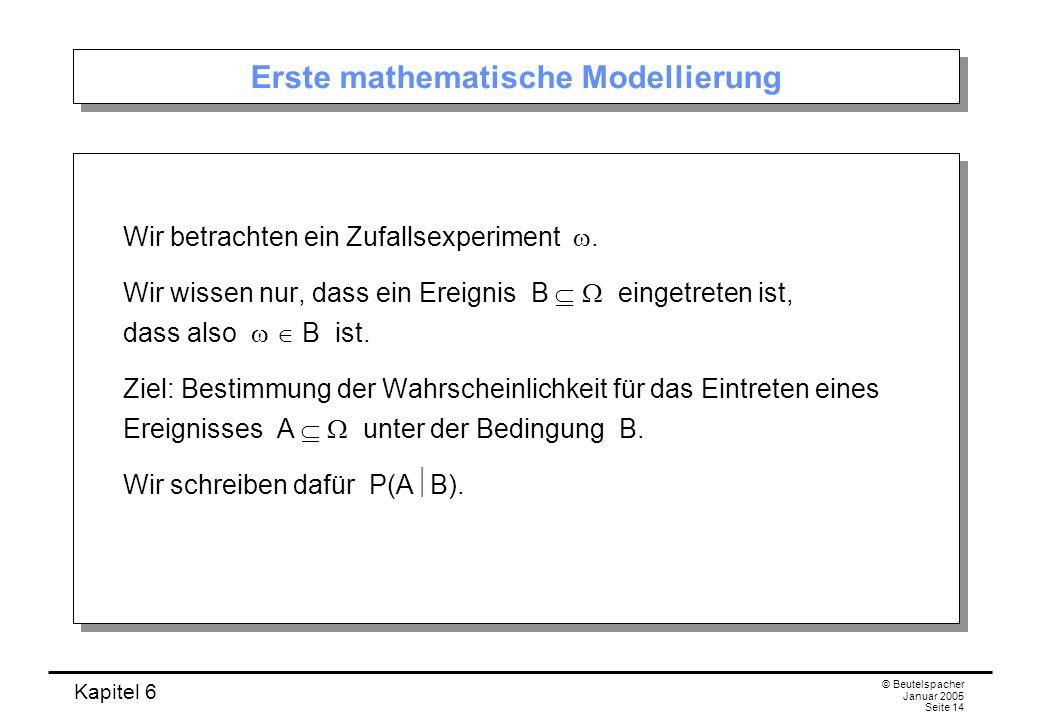Kapitel 6 © Beutelspacher Januar 2005 Seite 14 Erste mathematische Modellierung Wir betrachten ein Zufallsexperiment. Wir wissen nur, dass ein Ereigni