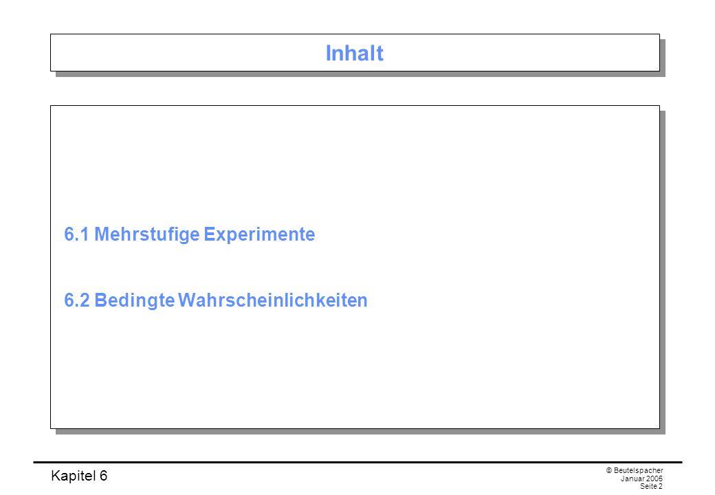 Kapitel 6 © Beutelspacher Januar 2005 Seite 2 Inhalt 6.1 Mehrstufige Experimente 6.2 Bedingte Wahrscheinlichkeiten 6.1 Mehrstufige Experimente 6.2 Bed