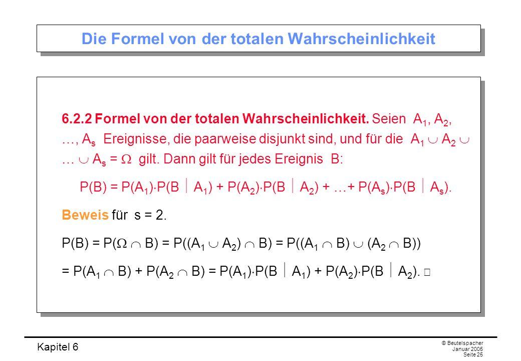 Kapitel 6 © Beutelspacher Januar 2005 Seite 25 Die Formel von der totalen Wahrscheinlichkeit 6.2.2 Formel von der totalen Wahrscheinlichkeit. Seien A