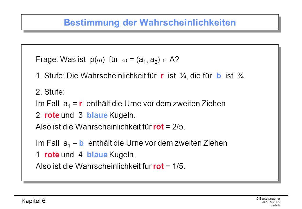 Kapitel 6 © Beutelspacher Januar 2005 Seite 5 Bestimmung der Wahrscheinlichkeiten Frage: Was ist p( ) für = (a 1, a 2 ) A? 1. Stufe: Die Wahrscheinlic