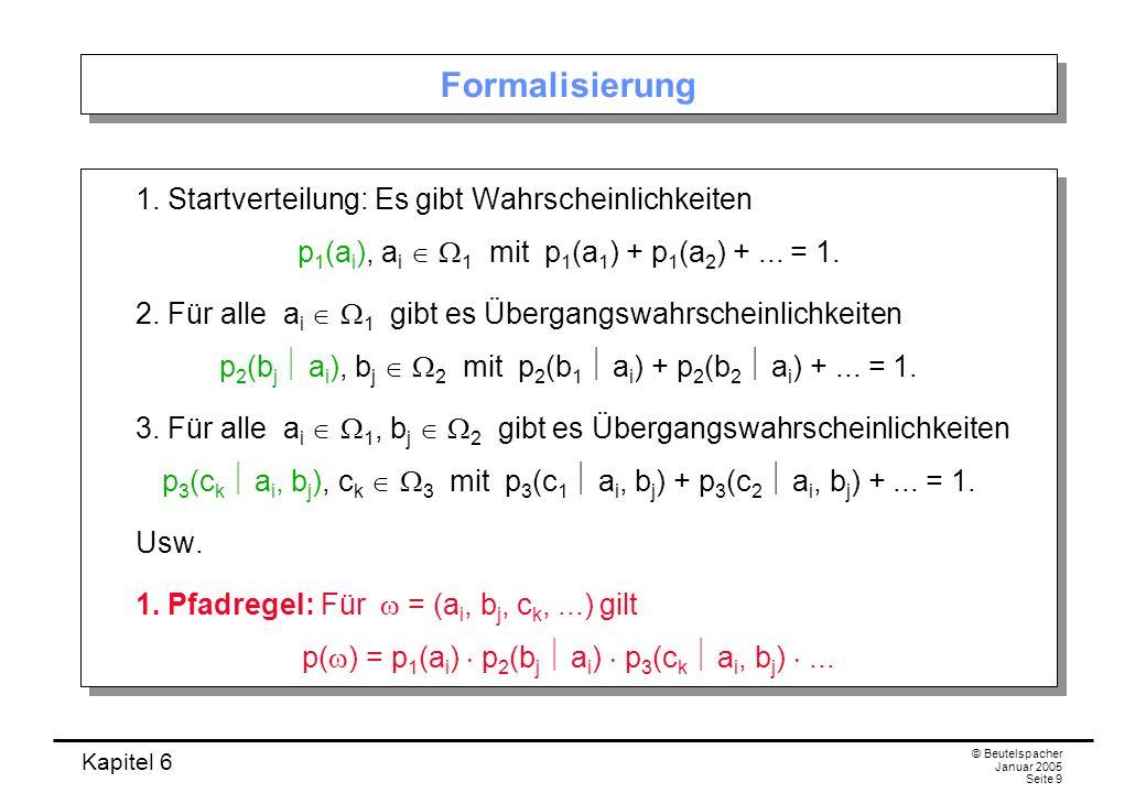 Kapitel 6 © Beutelspacher Januar 2005 Seite 9 Formalisierung 1. Startverteilung: Es gibt Wahrscheinlichkeiten p 1 (a i ), a i 1 mit p 1 (a 1 ) + p 1 (