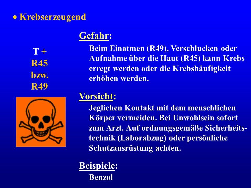 Krebserzeugend T + R45 bzw. R49 Gefahr: Beim Einatmen (R49), Verschlucken oder Aufnahme über die Haut (R45) kann Krebs erregt werden oder die Krebshäu