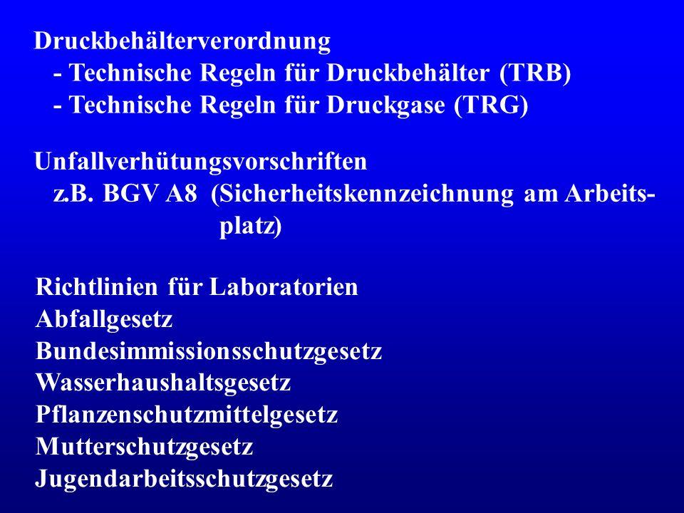 Regelwerk zum Arbeits- und Umweltschutz (Campuszugang) http://www.umwelt-online.de