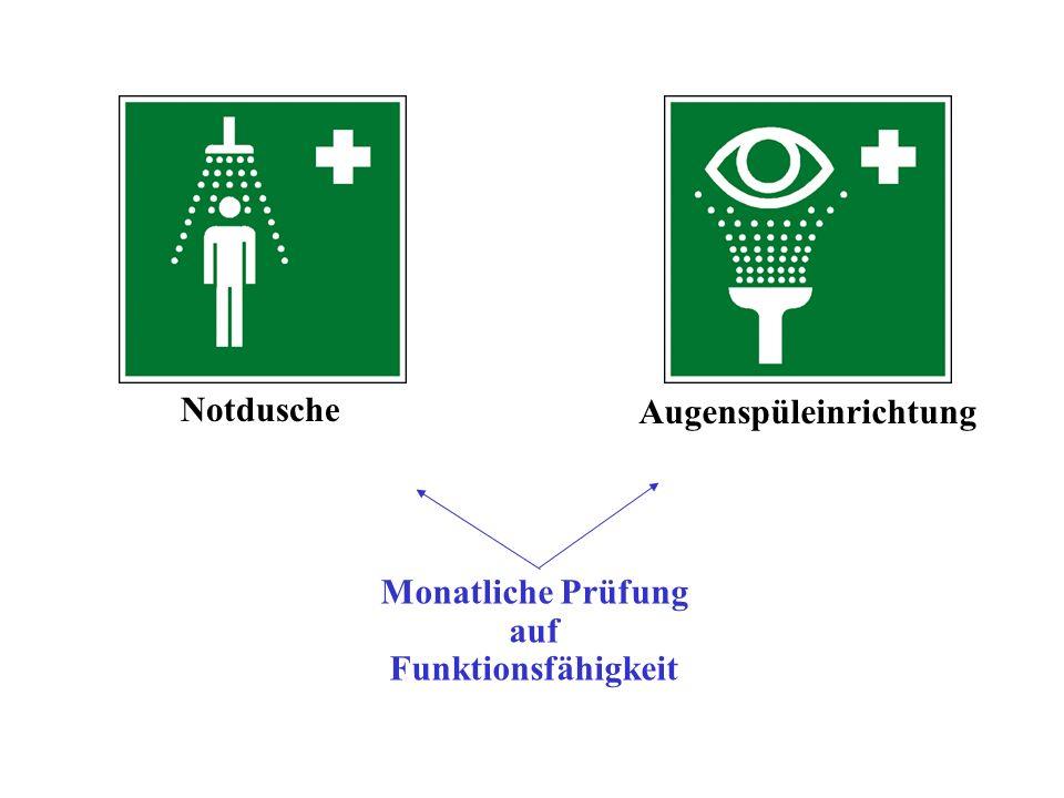 Notdusche Augenspüleinrichtung Monatliche Prüfung auf Funktionsfähigkeit