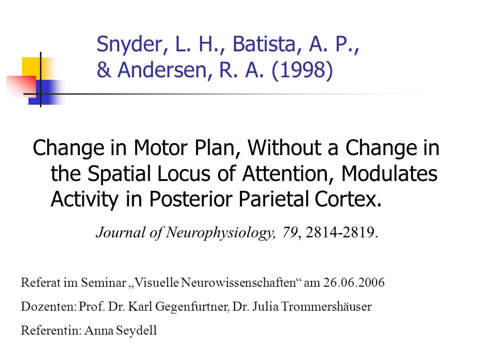 Snyder, L. H., Batista, A. P., & Andersen, R. A. (1998) Change in Motor Plan, Without a Change in the Spatial Locus of Attention, Modulates Activity i