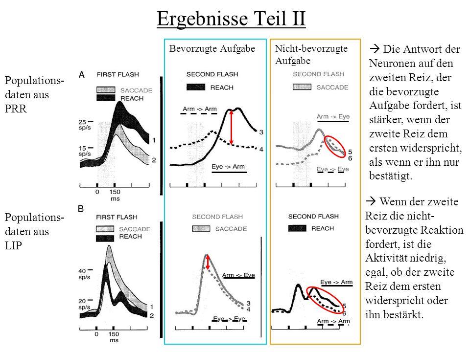 Ergebnisse Teil II Bevorzugte AufgabeNicht-bevorzugte Aufgabe Populations- daten aus PRR Populations- daten aus LIP Die Antwort der Neuronen auf den zweiten Reiz, der die bevorzugte Aufgabe fordert, ist stärker, wenn der zweite Reiz dem ersten widerspricht, als wenn er ihn nur bestätigt.