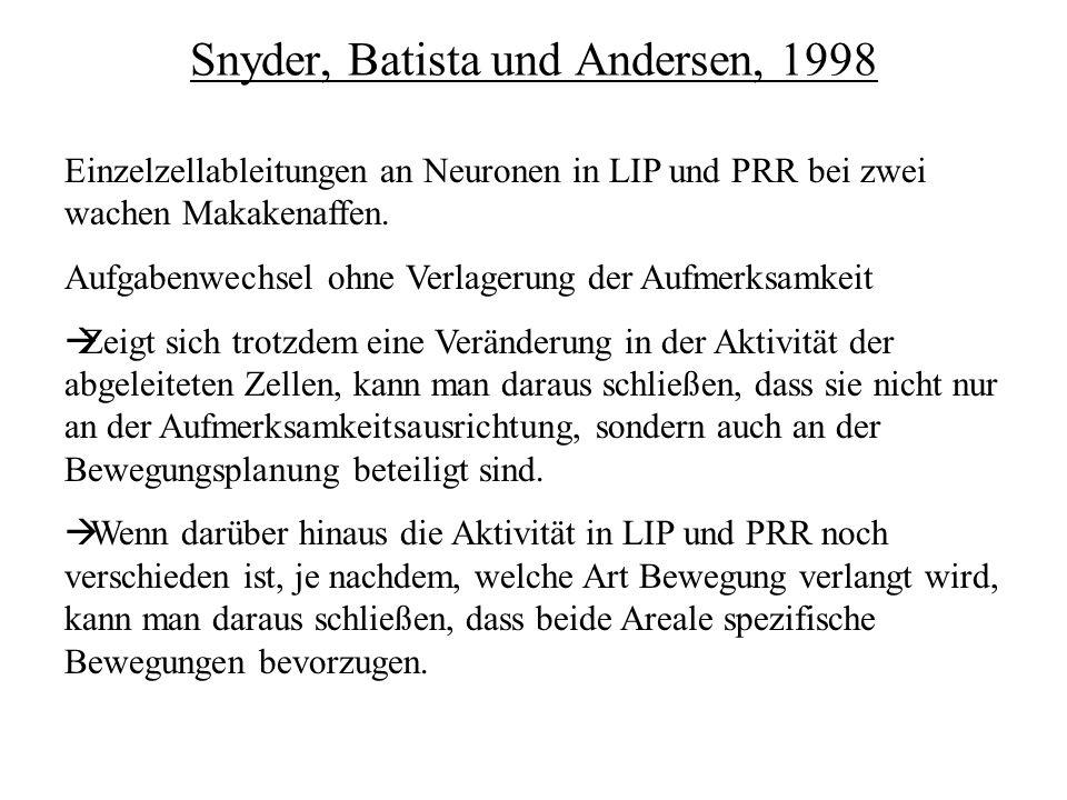 Snyder, Batista und Andersen, 1998 Einzelzellableitungen an Neuronen in LIP und PRR bei zwei wachen Makakenaffen. Aufgabenwechsel ohne Verlagerung der
