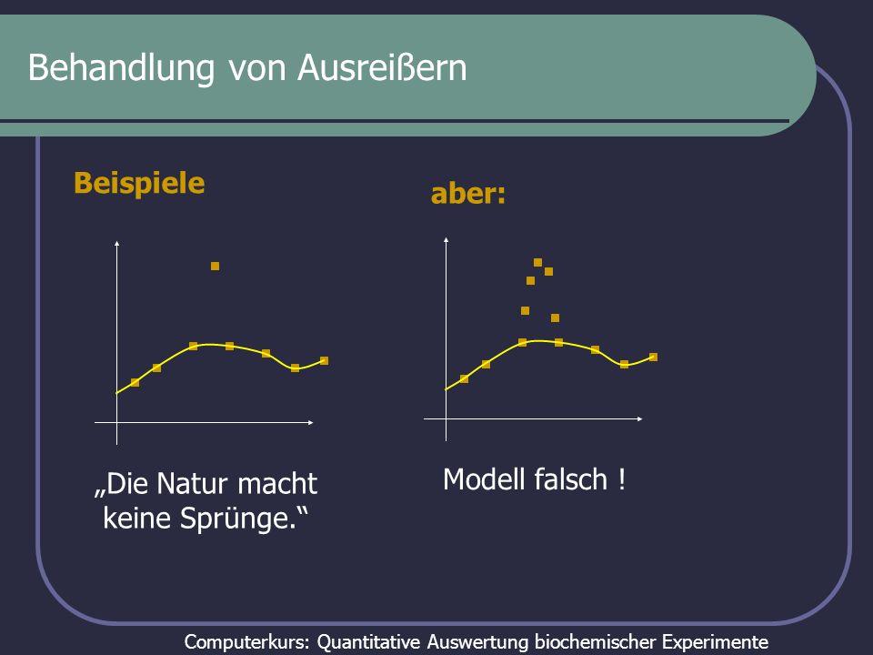 Computerkurs: Quantitative Auswertung biochemischer Experimente Behandlung von Ausreißern Zufall – Messwerte haben ein Verteilung Der Ausreißer muss mit berücksichtigt werden Fehler – Pipettierfehler etc.