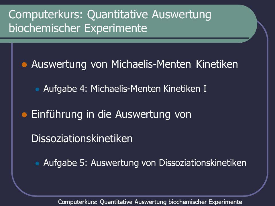 Computerkurs: Quantitative Auswertung biochemischer Experimente Auswertung von Dissoziationskinetiken Modell: Lösung:
