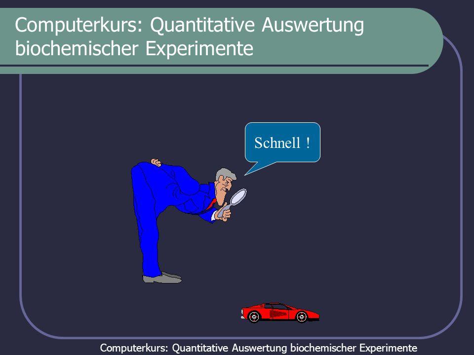 Computerkurs: Quantitative Auswertung biochemischer Experimente Computerkurs: Quantitative Auswertung biochemischer Experimente: Tag 2 Auswertung von