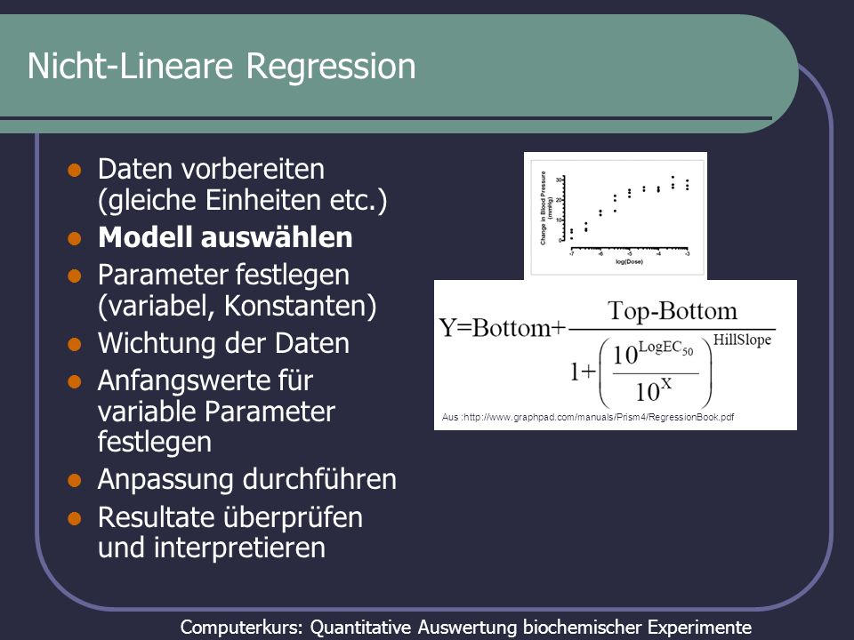 Computerkurs: Quantitative Auswertung biochemischer Experimente Schon besser: Nur noch drei Parameter Aus :http://www.graphpad.com/manuals/Prism4/RegressionBook.pdf