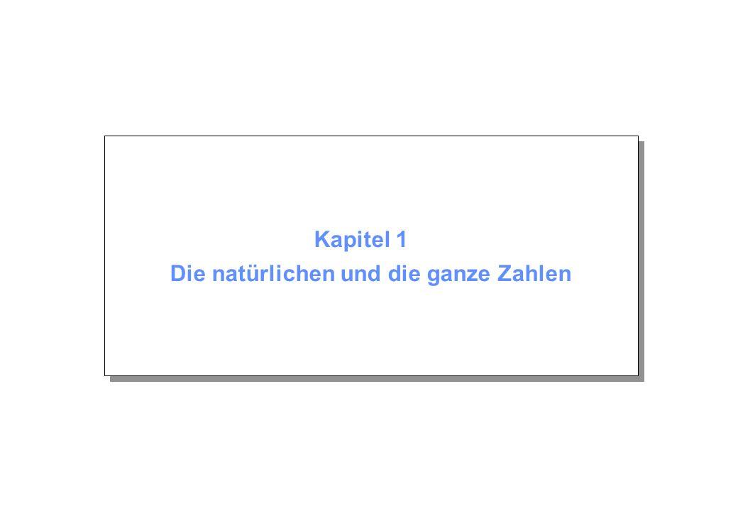 Kapitel 1: Die natürlichen und die ganzen Zahlen © Beutelspacher/Zschiegner April 2005 Seite 2 Inhalt 1.1 Vollständige Induktion z.B.