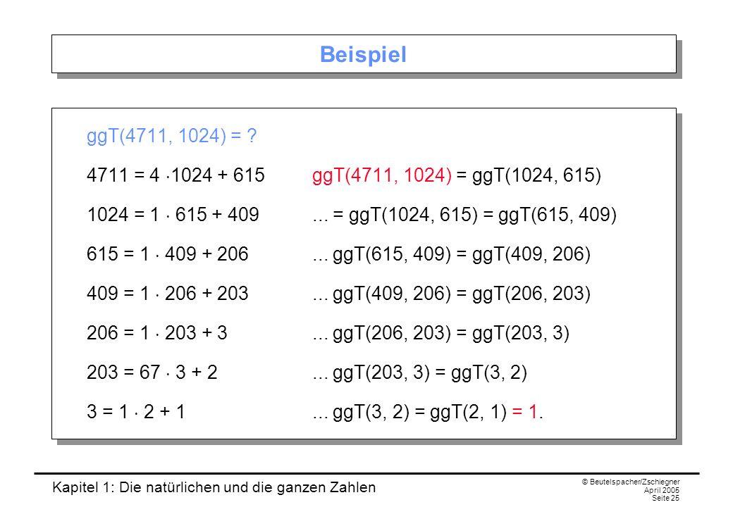Kapitel 1: Die natürlichen und die ganzen Zahlen © Beutelspacher/Zschiegner April 2005 Seite 25 Beispiel ggT(4711, 1024) = .
