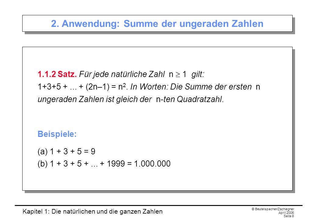 Kapitel 1: Die natürlichen und die ganzen Zahlen © Beutelspacher/Zschiegner April 2005 Seite 19 Division mit Rest 1.4.1 Division mit Rest.