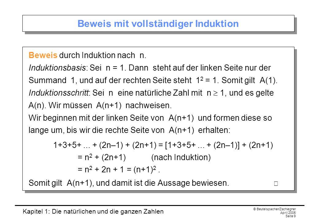 Kapitel 1: Die natürlichen und die ganzen Zahlen © Beutelspacher/Zschiegner April 2005 Seite 9 Beweis mit vollständiger Induktion Beweis durch Induktion nach n.