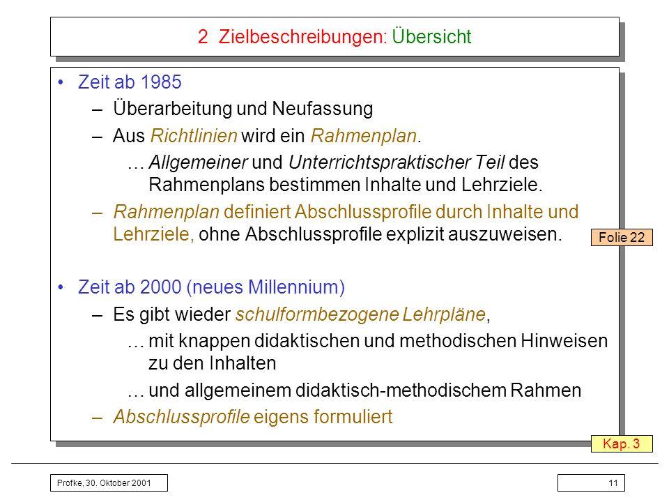 Profke, 30. Oktober 200111 2 Zielbeschreibungen: Übersicht Zeit ab 1985 –Überarbeitung und Neufassung –Aus Richtlinien wird ein Rahmenplan. …Allgemein