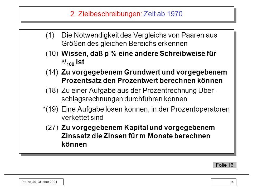 Profke, 30. Oktober 200114 2 Zielbeschreibungen: Zeit ab 1970 (1)Die Notwendigkeit des Vergleichs von Paaren aus Größen des gleichen Bereichs erkennen